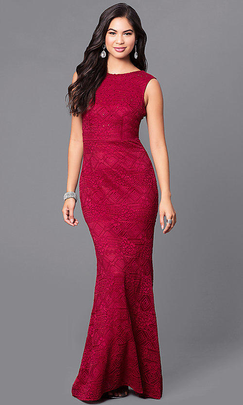 Long Burgundy Lace Prom Dress with V-Back