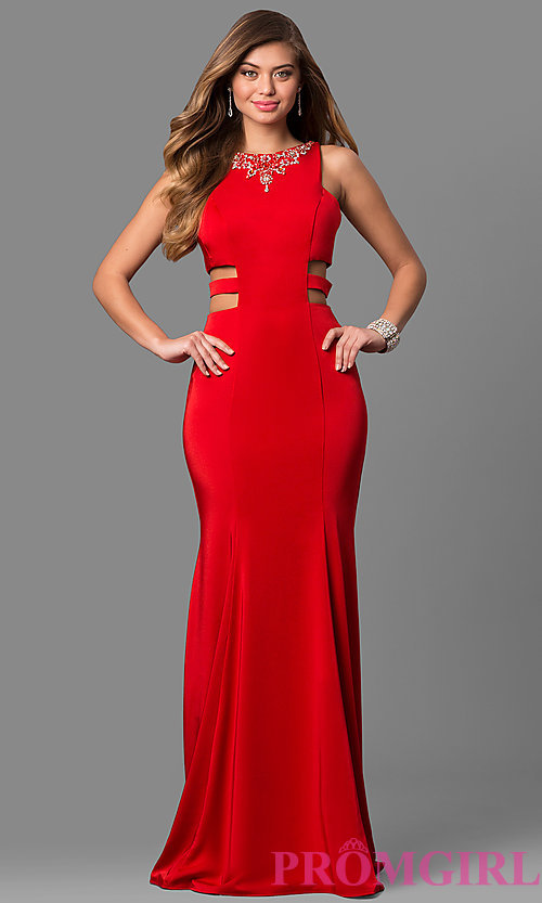 Image of sleeveless long mermaid prom dress with cut outs. Style: AL-8006 Front Image