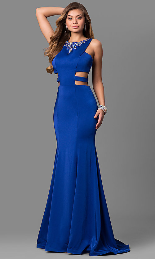 Sleeveless Long Prom Dress with Cut Outs