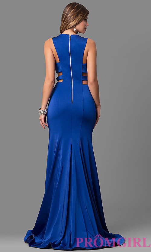 Image of sleeveless long mermaid prom dress with cut outs. Style: AL-8006 Back Image