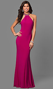 Image of beaded-collar long formal prom dress with cut outs. Style: AL-8008 Detail Image 1