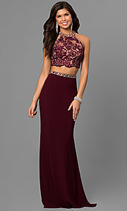 Image of Alyce two-piece prom dress with illusion bodice. Style: AL-8020 Front Image