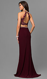 Image of Alyce two-piece prom dress with illusion bodice. Style: AL-8020 Back Image