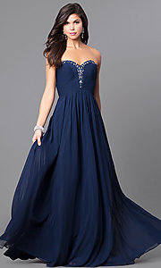 Image of long sweetheart strapless prom dress in chiffon. Style: AL-8022 Front Image