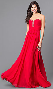 Image of long sweetheart strapless prom dress in chiffon. Style: AL-8022 Detail Image 1