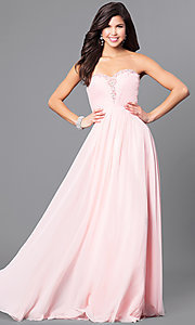Image of long sweetheart strapless prom dress in chiffon. Style: AL-8022 Detail Image 2