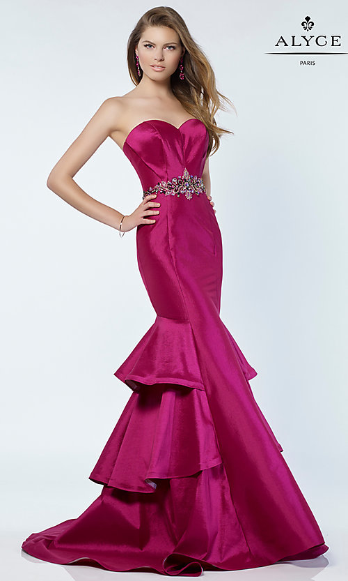 Image of long Alyce strapless mermaid prom dress. Style: AL-A6734 Detail Image 2