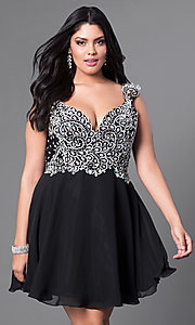 Image of cap-sleeve short plus-size party dress with jewels. Style: DQ-9160P Front Image