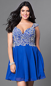 Image of cap-sleeve short plus-size party dress with jewels. Style: DQ-9160P Detail Image 3
