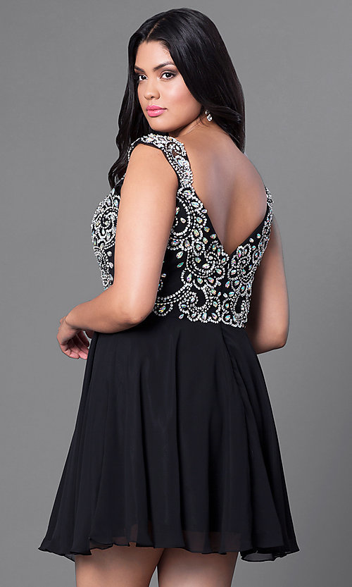 Image of cap-sleeve short plus-size party dress with jewels. Style: DQ-9160P Back Image