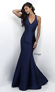 Image of long v-neck mermaid prom dress with ruffle by Blush. Style: BL-IN-286 Front Image