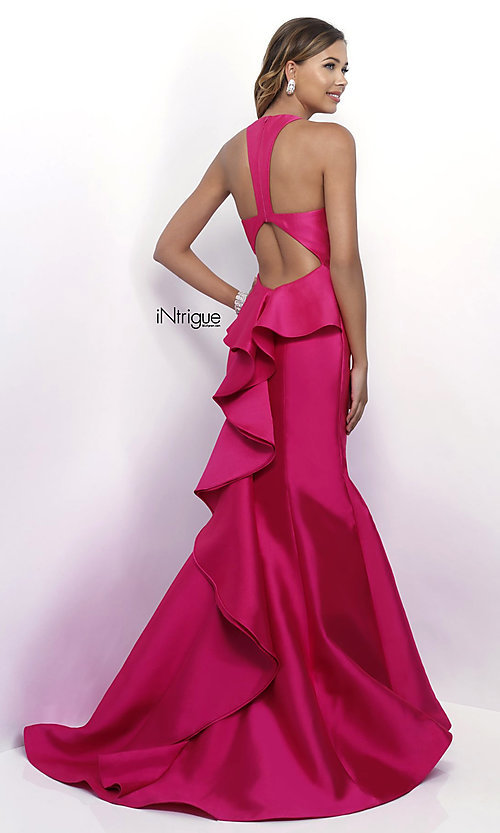 Image of long v-neck mermaid prom dress with ruffle by Blush. Style: BL-IN-286 Back Image