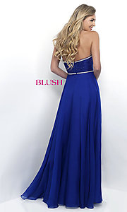 Image of chiffon strapless long formal prom dress by Blush. Style: BL-11342 Back Image