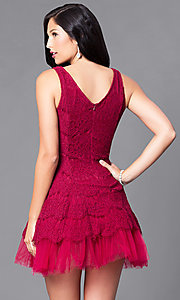 Image of short lace sleeveless v-neck party dress with tulle. Style: CL-DI252 Back Image