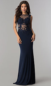 Image of lace-applique long prom dress from JVNX by Jovani. Style: JO-JVNX103 Detail Image 3