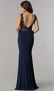 Image of lace-applique long prom dress from JVNX by Jovani. Style: JO-JVNX103 Detail Image 4