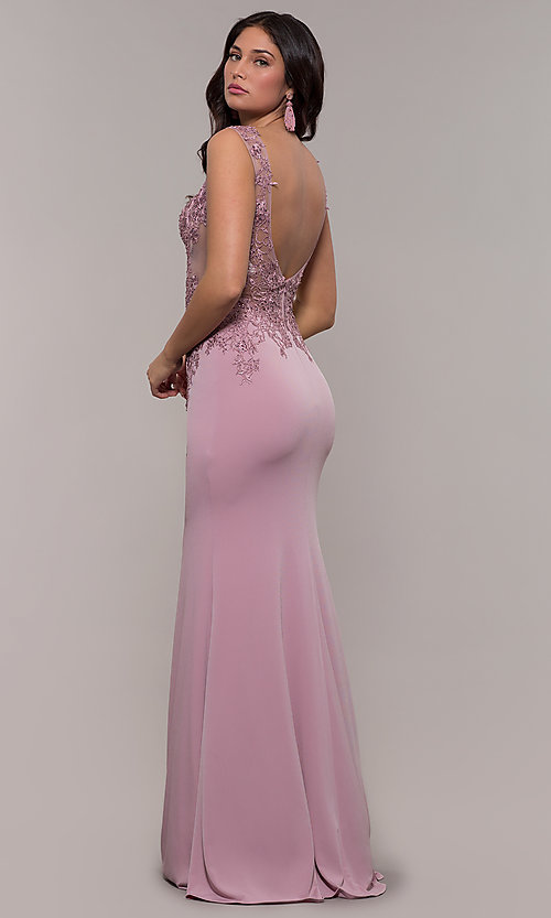 Image of lace-applique long prom dress from JVNX by Jovani. Style: JO-JVNX103 Back Image