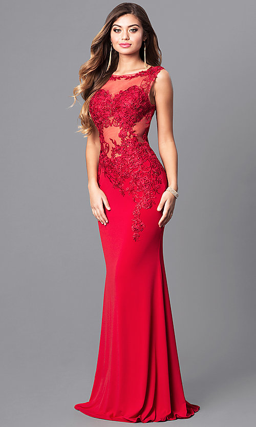 0f220040240ca Lace-Applique Long Prom Dress from JVNX by Jovani