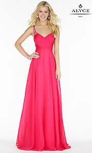 Image of long chiffon ruched v-neck prom dress by Alyce. Style: AL-8023 Detail Image 3
