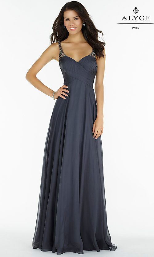 Image of long chiffon ruched v-neck prom dress by Alyce. Style: AL-8023 Detail Image 1