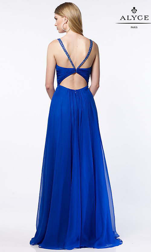Image of long chiffon ruched v-neck prom dress by Alyce. Style: AL-8023 Back Image