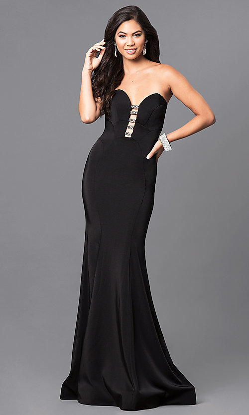 Image of strapless black long prom dress with rhinestone accents. Style: MF-E2102 Front Image