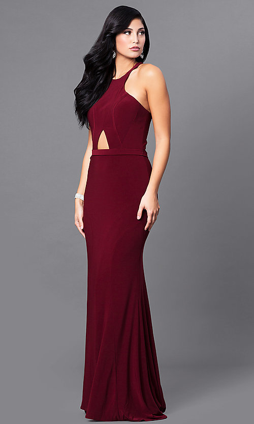 Image of wine red long prom dress with midriff cut out. Style: MF-E2101 Front Image