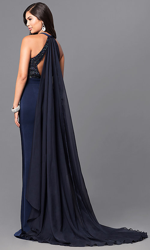 Navy Blue Long Prom Dress with Cape