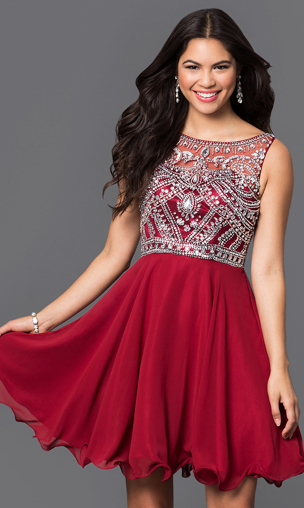 Illusion Jeweled Burgundy Short Party Dress-PromGirl