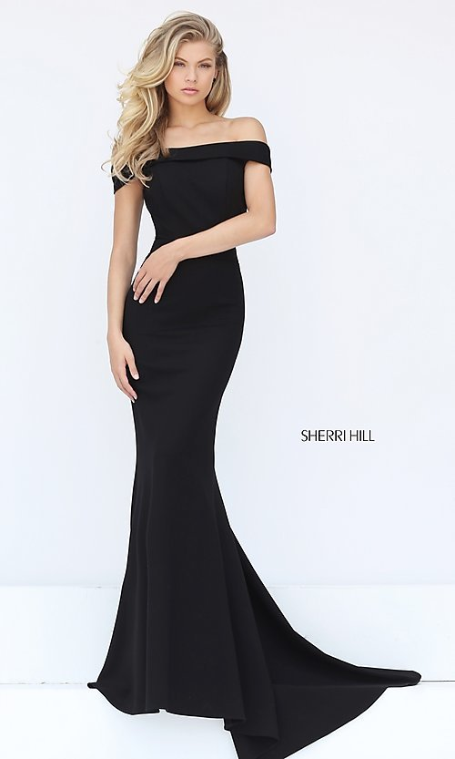 Image of long off-the-shoulder Sherri Hill prom dress. Style: SH-50824 Front Image