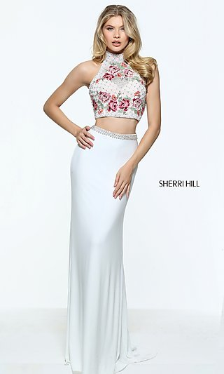 Sherri Hill Embroidered Two-Piece Long Prom Dress