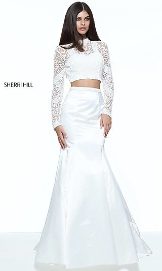 Mermaid Two-Piece Long-Sleeve Prom Dress