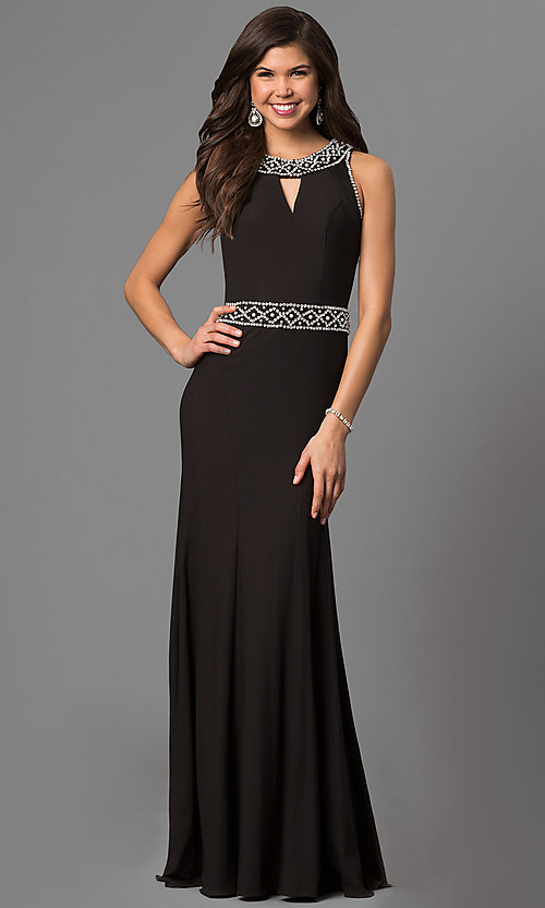 Long Black Prom Dress with Keyhole Cut Out