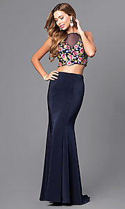 Image of two-piece long prom dress with embroidered top. Style: DJ-3064 Front Image
