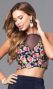 Image of two-piece long prom dress with embroidered top. Style: DJ-3064 Detail Image 1