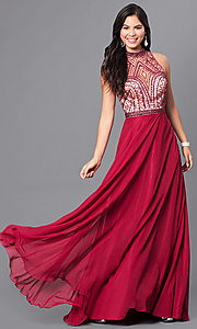 Image of long burgundy red sleeveless high-neck prom dress. Style: DJ-A4747 Front Image
