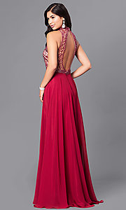 Image of long burgundy red sleeveless high-neck prom dress. Style: DJ-A4747 Back Image