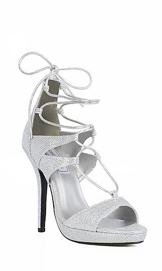 4 Silver Shimmer Ankle Tie Prom Shoes