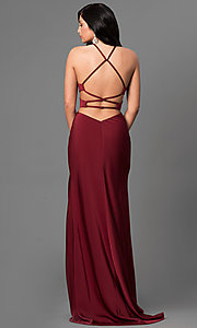 Image of long sleeveless evening dress with side cut outs. Style: LF-24380 Back Image