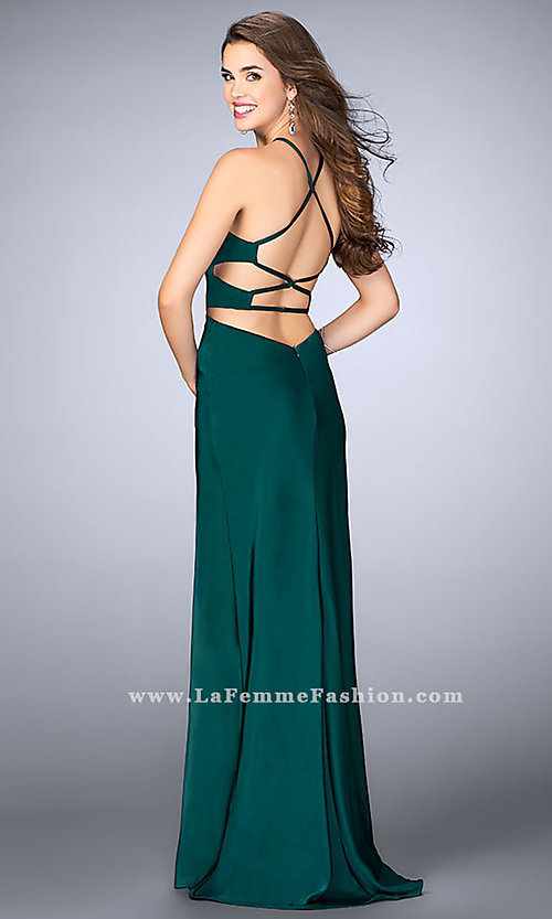 Image of long sleeveless evening dress with side cut outs. Style: LF-24380 Detail Image 2
