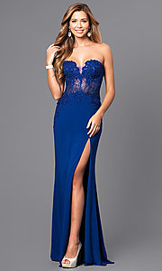 Image of strapless long prom dress with sheer-lace bodice. Style: FA-S7907 Front Image