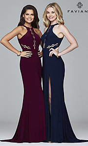 Image of high-neck floor-length Faviana prom dress with cut outs. Style: FA-7909 Front Image
