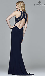Image of high-neck floor-length Faviana prom dress with cut outs. Style: FA-7909 Back Image