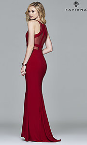 Image of long Faviana illusion prom dress with sheer midriff. Style: FA-7921 Back Image