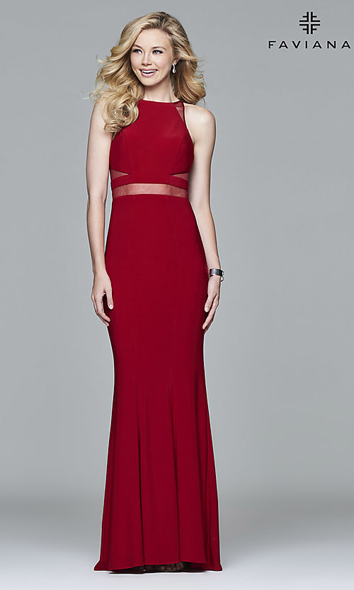 Image of long Faviana illusion prom dress with sheer midriff. Style: FA-7921 Front Image