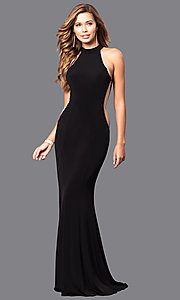 Image of Faviana long prom dress with illusion side cut outs. Style: FA-7943 Detail Image 2