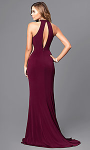 Image of Faviana long prom dress with illusion side cut outs. Style: FA-7943 Back Image
