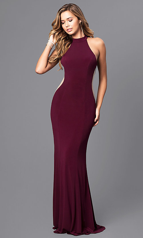 Image of Faviana long prom dress with illusion side cut outs. Style: FA-7943 Front Image