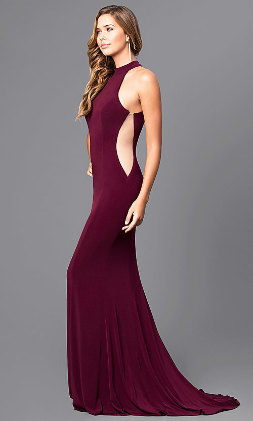 Image of Faviana long prom dress with illusion side cut outs. Style: FA-7943 Detail Image 1