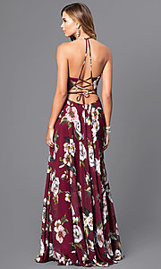 Image of floral-print v-neck long corset prom dress by Faviana. Style: FA-7946 Back Image